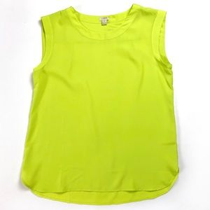 NWT - J.Crew Neon Green Drapey Sleeveless Tank Top